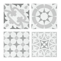 Set of 12 Decors and 4-Design Wall and Floor Tiles, Grey, Set of 5 sqm