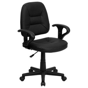 Mid-Back Leather Ergonomic Swivel Chair With Adjustable Arms, Black