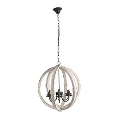 "Wood-Metal Globe Chandelier, 22.5"", Cream"