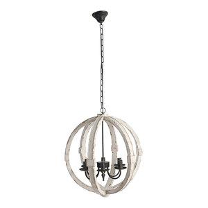 "Wood-Metal Globe Chandelier, 22.5"", Cream"