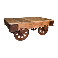 Charmant Crafters And Weavers   Ventura Solid Wood Industrial Cart Coffee Table,  Plank Top   Coffee