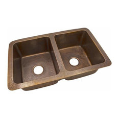 Copper Factory Copper Double Bowl Drop-In / Undermount Sink Copper