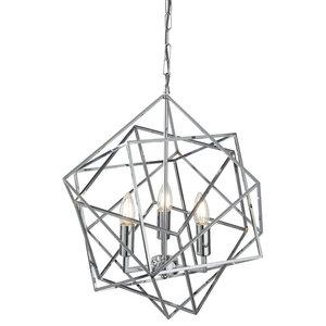 Cube 3-Light Pendant, Geometric Cube Frame, Chrome