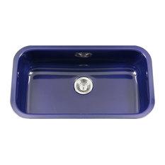 """Porcela Steel Kitchen Sink, 31"""", Navy Blue"""