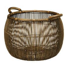 Large Open Weave Rattan Storage Basket