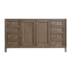 "60"" Chicago Double Cabinet Only Without Top, White Washed Walnut"