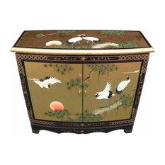Traditional Storage Cabinet, Gold Leaf Stylish MDF, Oriental Chinese Design