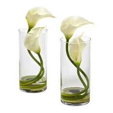 Double Calla Lily With Cylinder, Cream, Set of 2