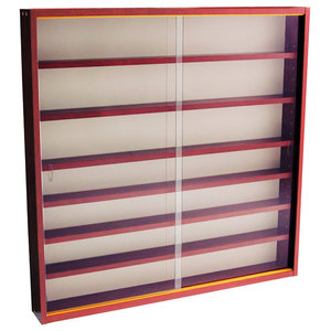 Reveal 6-Shelf Glass Wall Collectors Display Cabinet, Mahogany