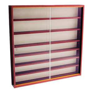Reveal 6-Shelf Glass Wall Collectors Display Cabinet, Mahogany