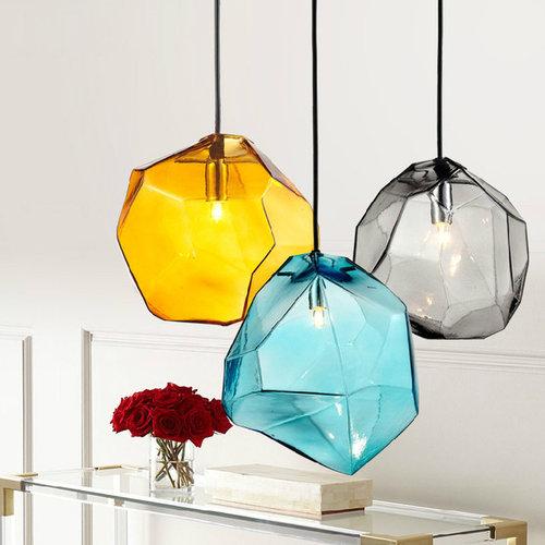 Stone 1-Light Mini Colourful Glass Pendant Light - Pendant Lighting
