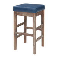 Valencia Bonded Leather Counter Stool With Driftwood Legs, Vintage Blue