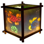Harmony Lantern - Turtles Lantern Night Light - Our Harmony Lanterns consist of two main parts: the lamp itself, and an insert which is inserted into the lamp. The two combine to create a moving light show on the paper shade of the lamp.  If a little finger poked a hole in rice paper, simply remove the torn paper and place that side close to the wall.  You will then see the image dancing on the wall as well.