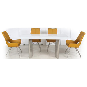 Phoenix Dining Table With 4 Melbourne Chairs, Medallion Yellow, Large