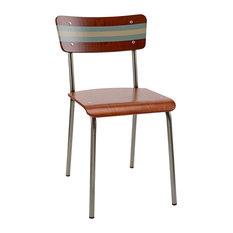 School Contemporary Dining Chair, Silt and Slate Striped Backrest