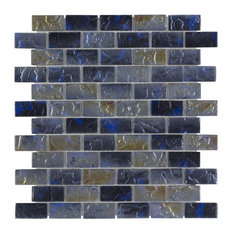 MTO0089 Classic Brick Blue Gray Frosted Glossy Glass Mosaic Tile