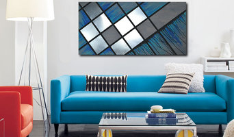"Mod Wood Art | ""Blue Grid"" 48x24"