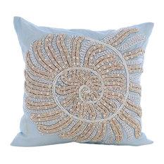 Swirl Twirl, Blue Cotton Linen 50x50 Cushion Covers Decorative