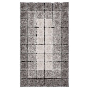 Velvet 3D Cube Grey Rectangle Plain Rug, 80x150 cm