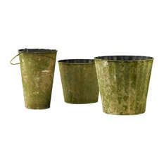 Serene Spaces Living Distressed Moss Tin Bucket, Large