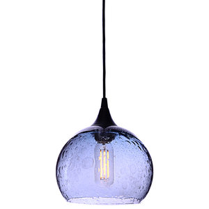 Lunar Pendant No. 767, Blue Glass Shade, Matte Black Hardware