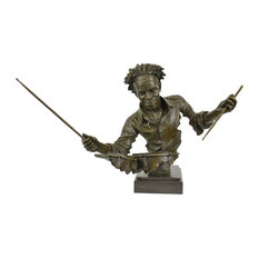 Bronze Drum Set Figurine Amazing Lost Cast Bronze Sculpture Marble Statue Decor