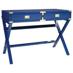 """OSP Home Furnishings - 42"""" Desk With Power, Lapis Blue - Inspired by the classic elegance of a vintage campaign desk, this stylish writing desk brings traditional style to the modern home office. Whether you are working on your laptop or writing thank you notes you will appreciate the convenient built-in power charging station and ample workspace of this writing desk. With two storage drawers your pens and paper will always be close at hand. Update your home office with the classic charm of the Wellington Desk."""