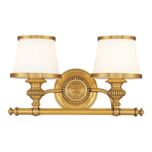 Milton 2-Light Bath and Vanity With Opal Glossy Glass Shade, Flemish Brass