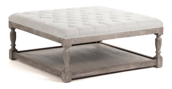 Square Tufted Linen Natural Elm Coffee Table Ottoman