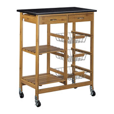 Modern Serving Trolley Cart, Bamboo Wood With Marble Top and 2 Extra Drawers