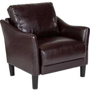 Contemporary Upholstered Chair in Brown Bonded Leather