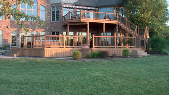 2-level deck with hot-tub, fire pit, skirting, and built in lighting.