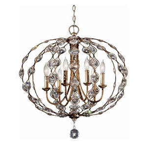 Feiss Leila 6 Light Chandelier in Burnished Silver