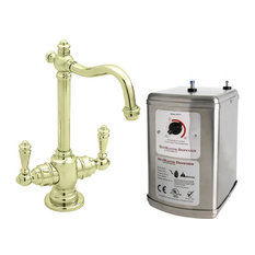 "Victorian 9"" Hot And Cold Water Dispenser And Tank In Polished Brass"