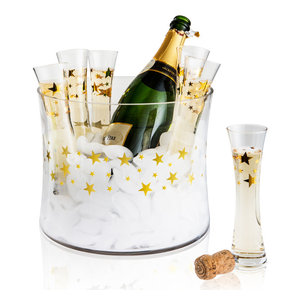 Artland Gold Stars 7 Piece 4 Ounce Stemless Toasting Flute Set with Ice Bucket