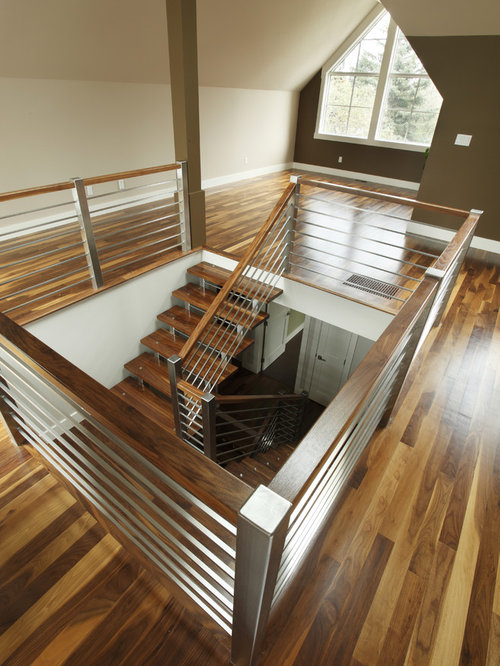 Stainless steel staircase railing houzz for Stainless steel railings interior