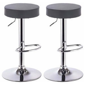 Modern 2 Round Bar Stools Set, Faux Leather, Chromed Base and Footrest, Grey
