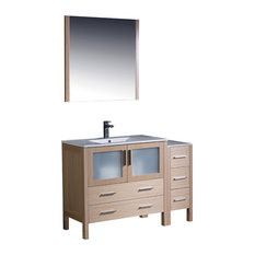 "Torino 48"" Light Oak Modern Bathroom Vanity, Side Cabinet, Integrated Sink"