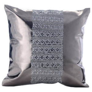 Platinum Sparkle, Gray Faux Leather 45x45 Cushions Cover
