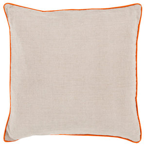 Surya Linen Piped 18   x 18   Ivory And Bright Orange Accent Pillow LP001-1818D