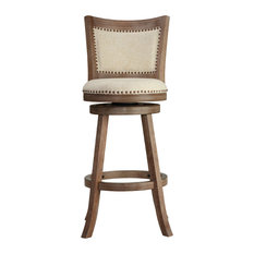Cortesi Home Marko Bar Stool Beige Fabric Swivel Seat With Padded Back 29-inch Seat