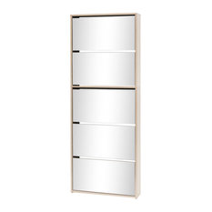 vidaXL Shoe Cabinet 5-Layer Mirror, Oak, 63x17x170 cm