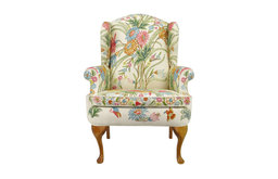 Wool Crewel Upholstered Wing Chair, Colorful Floral