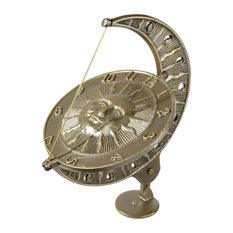 """12""""x8.75""""x15.5"""" Sun and Moon Large Sundial, French Bronze"""