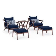 Vaughn 5pc Club Chair & Ottoman Set - Navy Blue