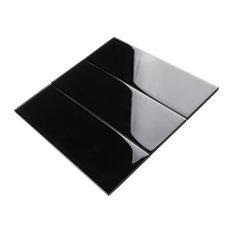 """4""""x12"""" Baker Glass Subway Tiles, Set of 3, Black"""