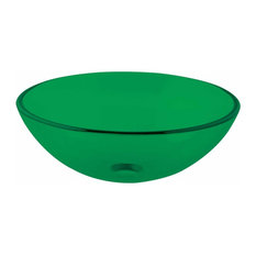 Emerald Tempered Glass Vessel Sink with Drain, Single Layer Round Bowl Sink