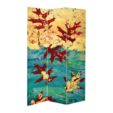 7' Tall Double Sided Autumn Leaves Canvas Room Divider