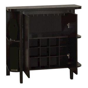 Villard Wood Sideboard With Wine Rack Black Craftsman