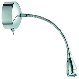 LED Wall Light, Switched With Flexible Arm, Polished Chrome
